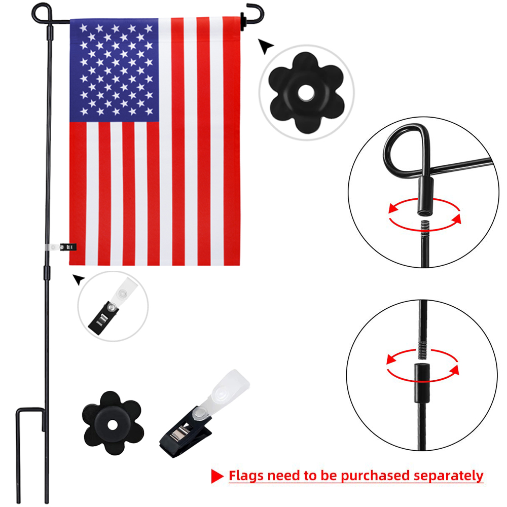 PRETYZOOM Garden Flag Holder Stand Garden Flags Wall Scroll Hanger with Screws for Christmas Party Garden Yard Flagpole Banner Holder Outdoor Decor