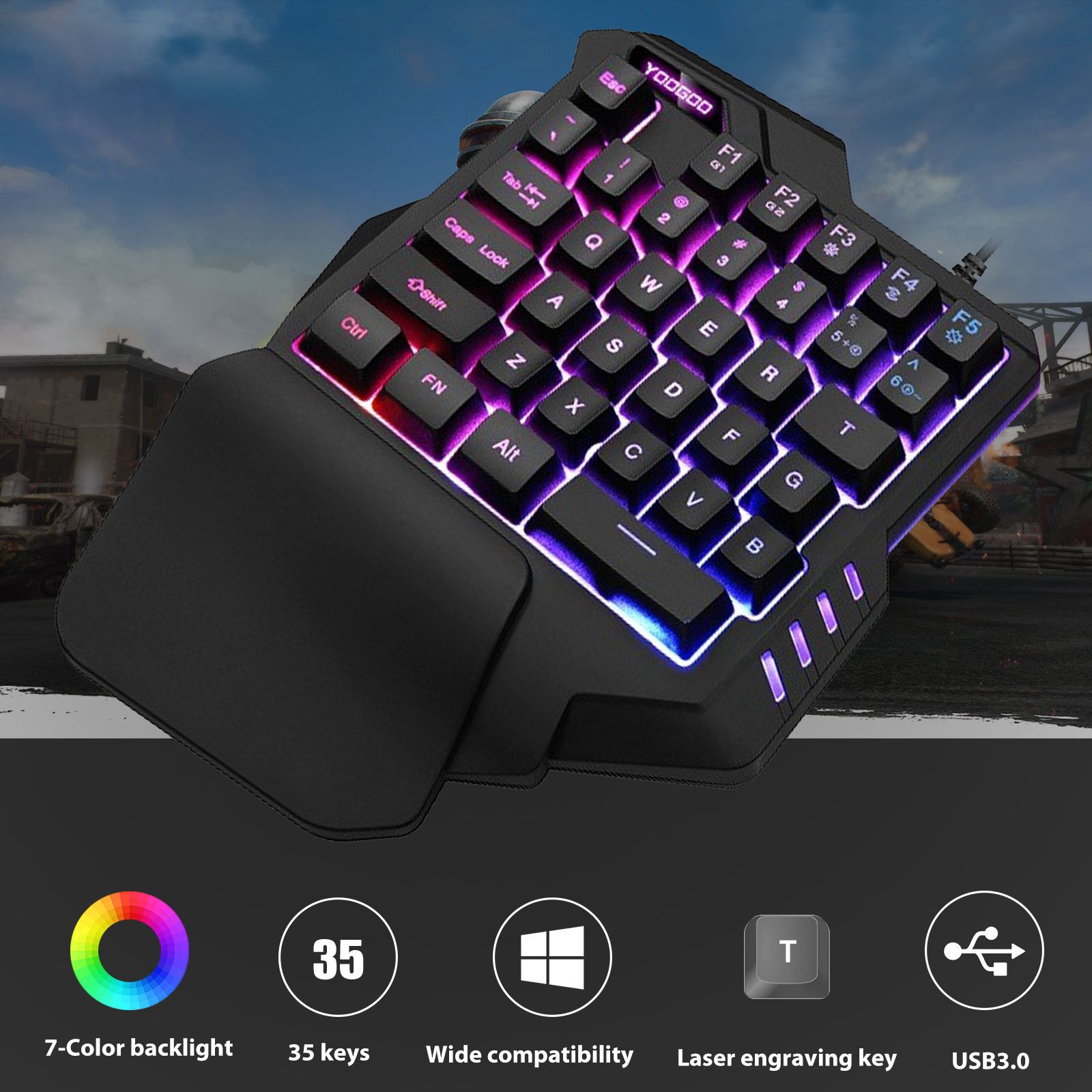 TSV Small Gaming Keyboard Feel Wide Hand Rest with 35 Keys,RGB Gaming Keyboard Colorful Backlight