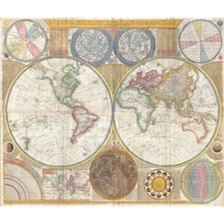 1794 Samuel Dunn Wall Map Of The World In Hemispheres Poster Print  13 X 11