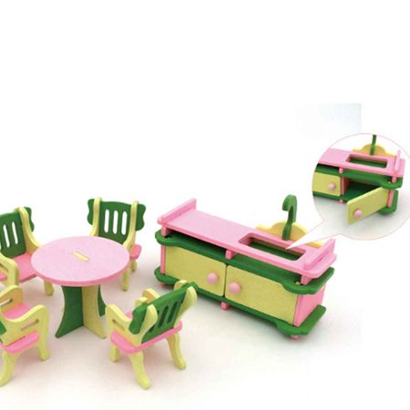 Boyijia Simulation Baby Wooden Toys Miniature Furniture House Set Room Kitchen Table Playthings for Children Kids - image 4 of 4