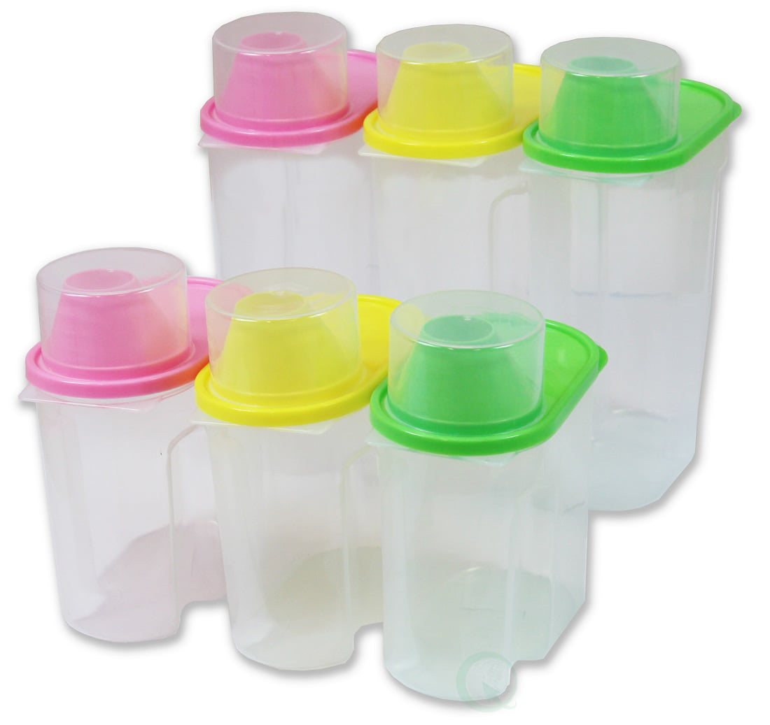 """BPA-Free Plastic Food Saver, Kitchen Food Cereal Storage Containers with Graduated Cap, Set of 3 Large... by Quickway Imports Inc"
