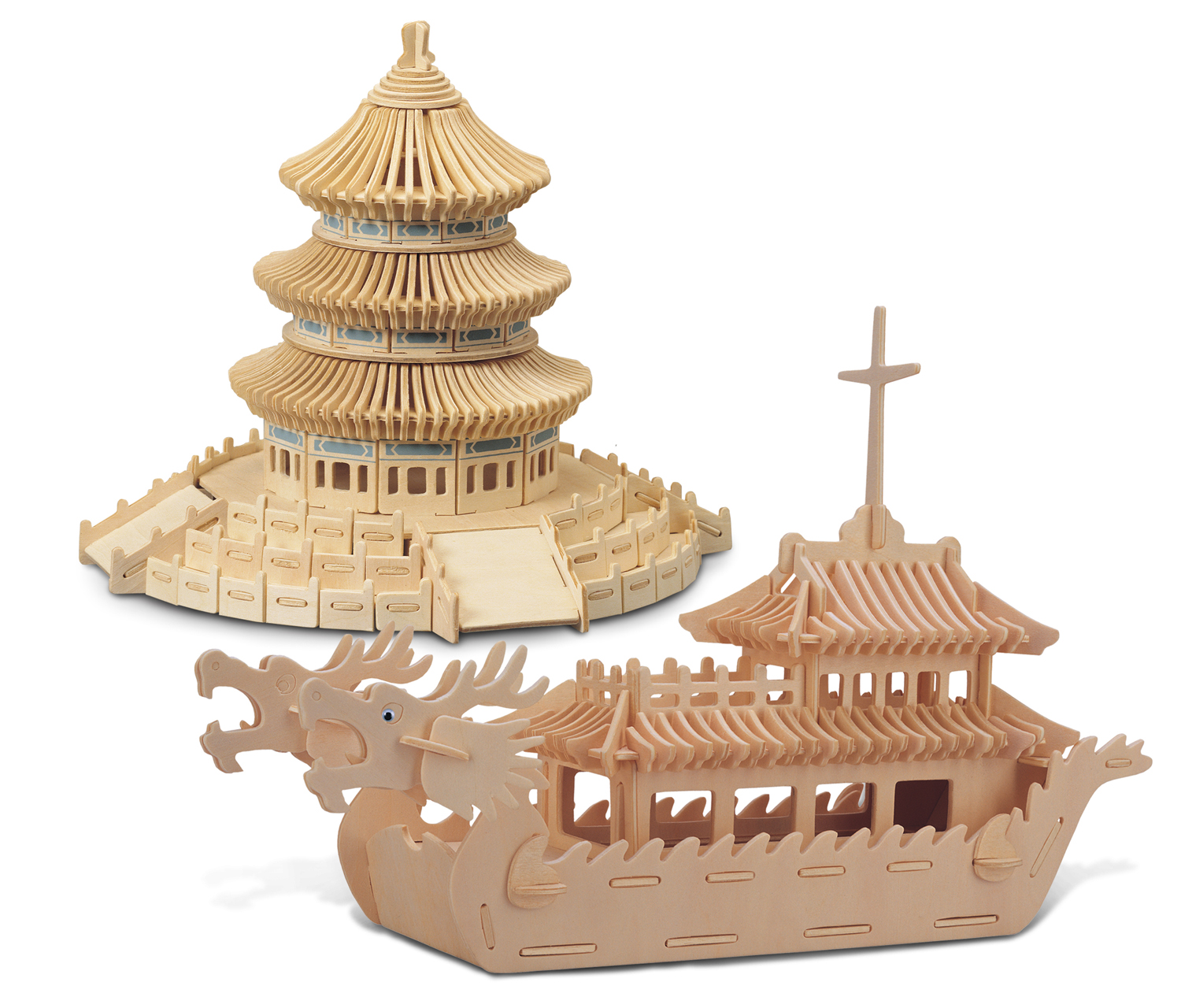 Puzzled Dragon Boat and Temple of Heaven Wooden 3D Puzzle Construction Kit by Puzzled Inc