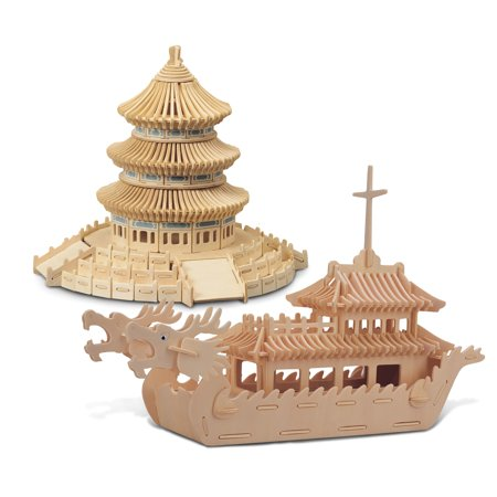 (Puzzled Dragon Boat and Temple of Heaven Wooden 3D Puzzle Construction Kit)