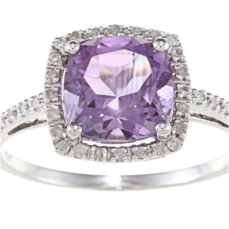 Amethyst And Diamond Ring (10k White Gold Cushion Amethyst and Diamond Halo)