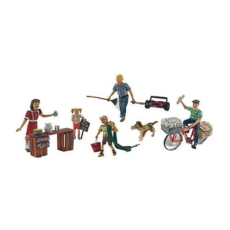 Summertime Jobs (Paperboy, Lawn Boy, Lemonade Stand w/3 Figures & Dog) HO Scale, Includes highly-detailed pieces. By Woodland Scenics
