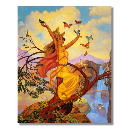 Nordic Celtic Princess with Butterflies Fantasy Wall Picture 8x10 Art Print - Painted Lady Butterfly Pictures