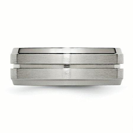Jewelry & Watches Titanium Grooved Ridged Edge 8mm Brushed Wedding Ring Band Size 8.50 Fashion Engagement & Wedding