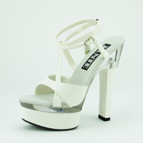 Women's White and Clear Platform High Heel Sandal Shoes - Size 9