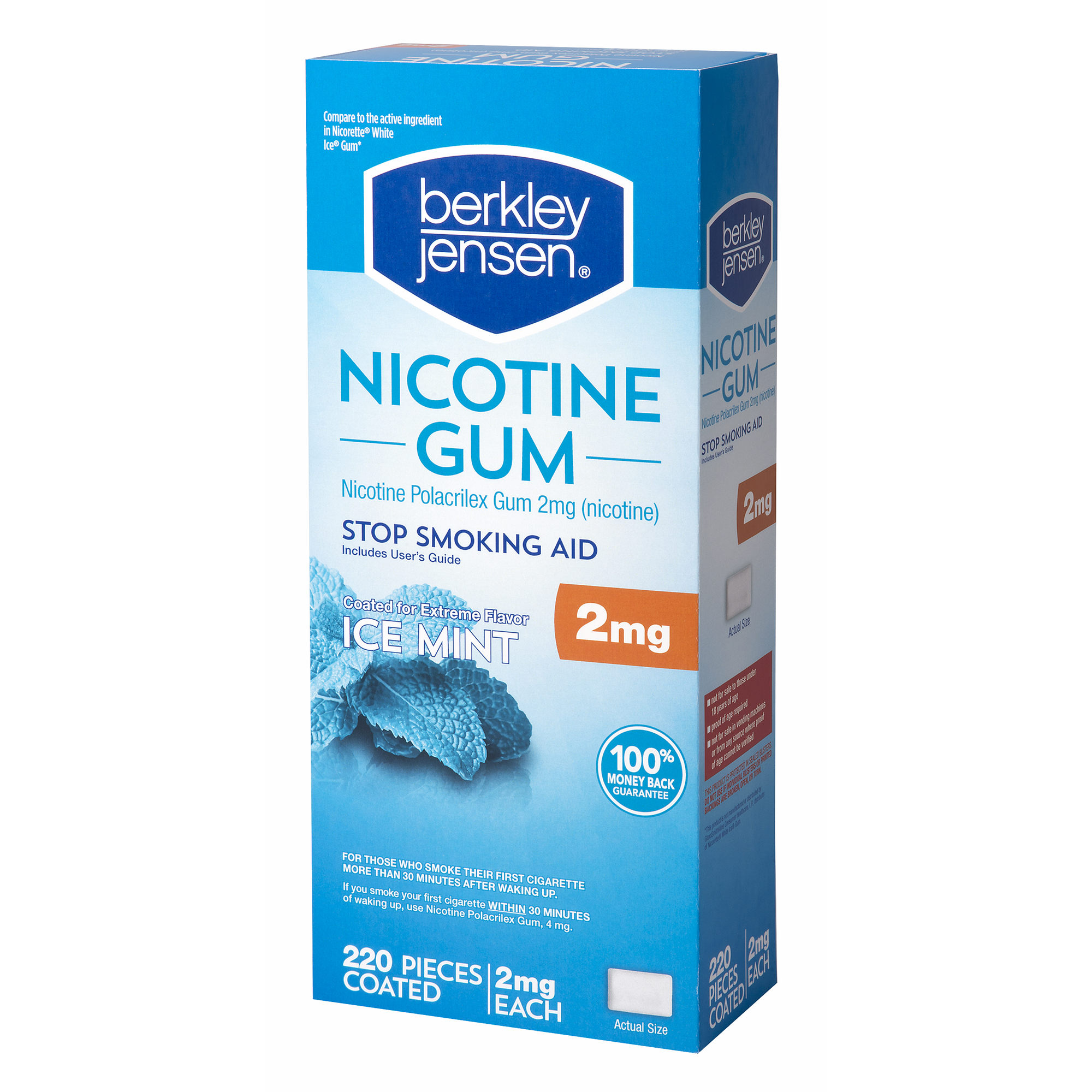 Product of Berkley Jensen White Ice Mint Nicotine Gum, 220 ct./2mg - Stop Smoking [Bulk Savings]