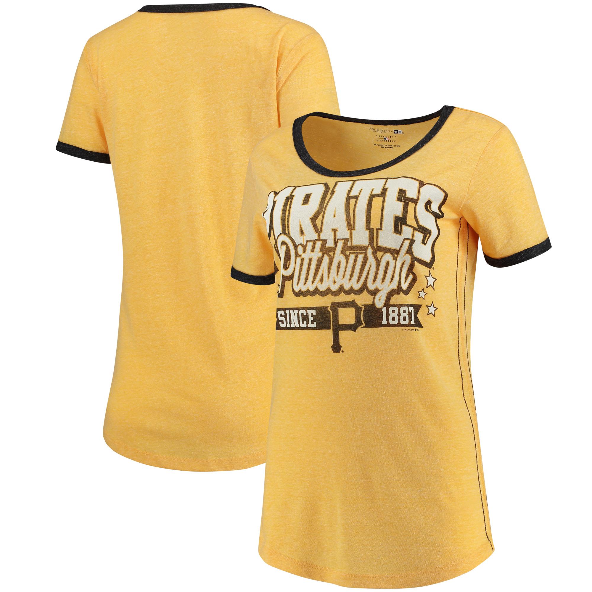 Pittsburgh Pirates 5th & Ocean by New Era Women's Jersey Ringer Tri-Blend T-Shirt - Gold/Black
