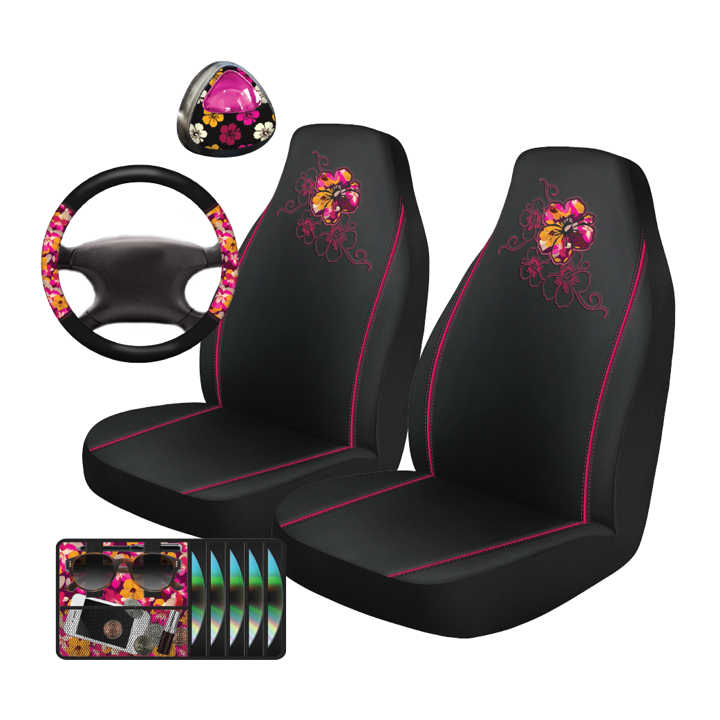 Auto Drive 5-Piece Funky Hibiscus Seat Cover and Steering Wheel Set