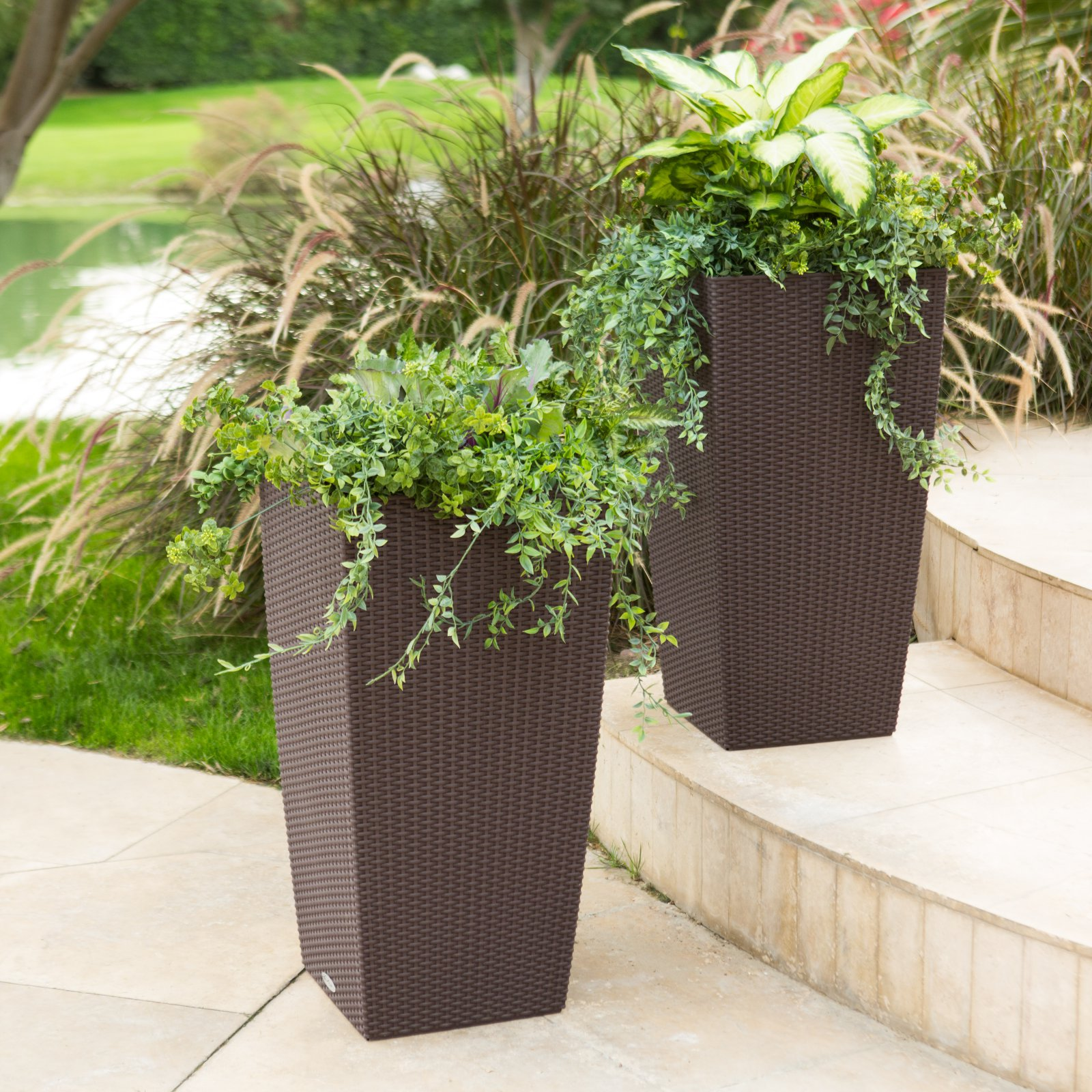 Square Lechuza Cubico Cottage Self-Watering Resin Planter