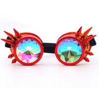 C.F.GOGGLE Diffractive Goggles Steampunk Glasses Laser Kaleidoscope Color Crystal Lens