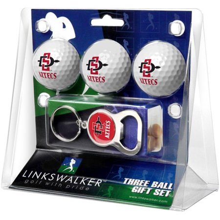 LinksWalker LW-CO3-SDS-3PKB San Diego State Aztecs-3 Ball Gift Pack with Key Chain Bottle Opener - image 1 of 1