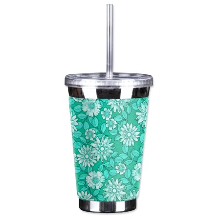 Mugzie Sweat Proof 16-Ounce To Go Tumbler with Insulated Wetsuit Cover - Green Flowers