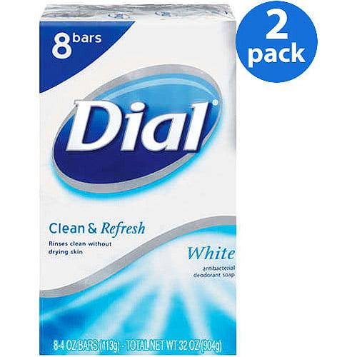 Dial Bar Clean & Refresh White Antibacterial Deodorant 4 oz Bars Soap, 8 ct (Pack of 2)