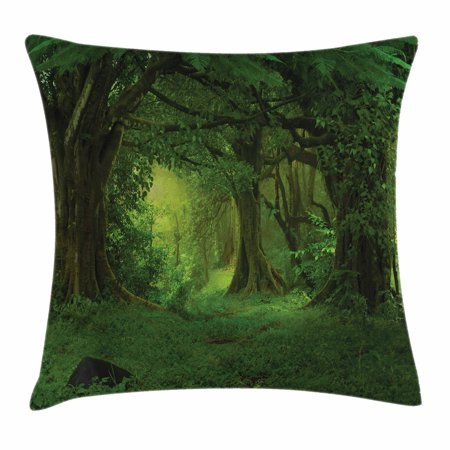 Nature Decor Throw Pillow Cushion Cover, Deep Tropical Jungle Trees Foliage Woodland Asian Himalayas Meditation Landscape, Decorative Square Accent Pillow Case, 16 X 16 Inches, Green, by Ambesonne (Tropical Foliage)