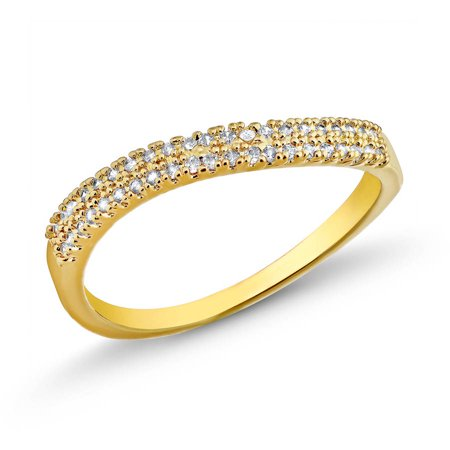 18kt. Gold Plated Brass 1.4mm Round-Cut 2 Row Wave CZ Band Ring Brass Gold Plated Ring