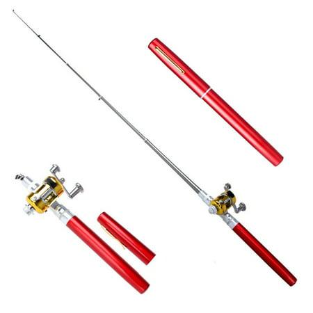 Gold Telescopic Pole - Supersellers Portable Fishing Rod Collapsible Telescopic Fishing Pole Mini Fishing Ultralight Pole Plastic Pen Shape Fishing Rod With Reel Wheel