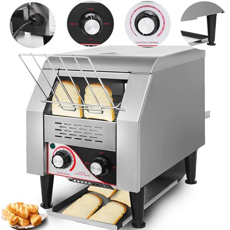 VEVOR 1350W Commercial Conveyor Toaster 150PCs/Hour 110V Heavy Duty Stainless Steel ()