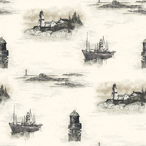 Blue Mountain Lighthouse Wallcovering, Black and White