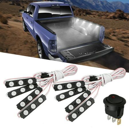 Light Pod Kit (Xprite 8-pack Waterproof Pickup Truck Bed Light 24 LED Pod Kit Strip White with)