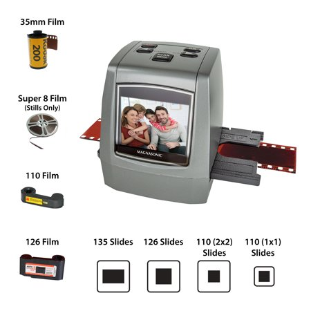 "Magnasonic All-In-One High Resolution 22MP Film Scanner, Converts Film, Slides and Negatives, Vibrant 2.4"" LCD"