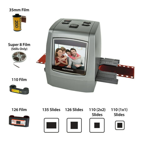 """Magnasonic All-In-One High Resolution 22MP Film Scanner, Converts Film, Slides and Negatives, Vibrant 2.4"""" LCD"""