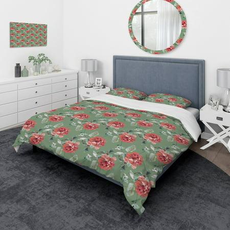 DESIGN ART Designart 'Red Rose in Green Background' Traditional Bedding Set - Duvet Cover & Shams (Green Iridium Sonnenbrille)