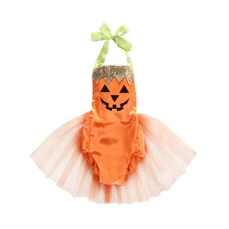 Baby Girl Halloween Costumes 6-12 Months (Bilo Baby Girl Halloween Pumpkin Costume Bodysuit Tutu Skirt (100/12-18 Months, Orange)