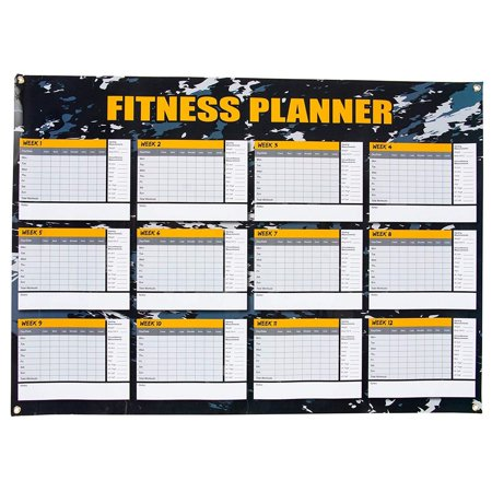 Dry Erase Weekly Planner - 12 Weeks Fitness Planner for Workout Exercise Log, Weight Loss Program, Bodybuilding, Cross-Fit, and Gym Training Progress Tracking, 24 x 17 (Lose Weight And Inches In 2 Weeks)
