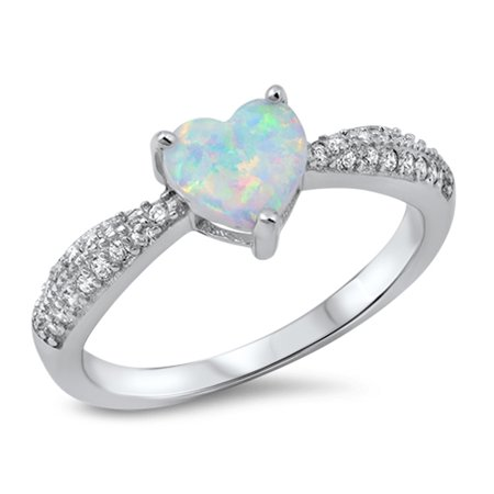 Sterling Silver Single Cluster Ring - CHOOSE YOUR COLOR White Simulated Opal Heart Promise Ring .925 Sterling Silver Cluster Band