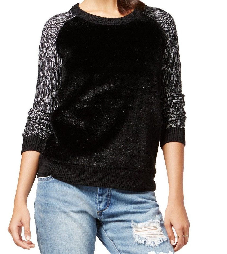 Rachel Rachel Roy NEW Black Women's Size Large L Faux Fur Crewneck Sweater