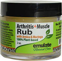 Moringa Oil & Muscle Rub with Arnica & MSM emulate Natural Care 2 oz Jar