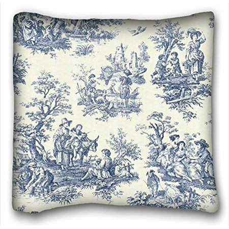 Square Throw Pillow Size : WinHome Square Blue Vintage Toile Throw Pillow Case Cases Cover Cushion Covers Sofa Size 18x18 ...