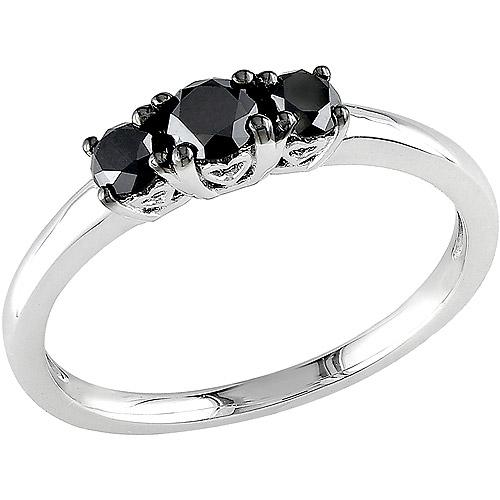 1/2 Carat T.W. Three-Stone Black Diamond Ring in Sterling Silver