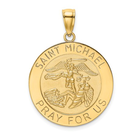 FB Jewels 14K Yellow Gold Saint Michael Medal High Polish and Satin Finish - Round Pendant