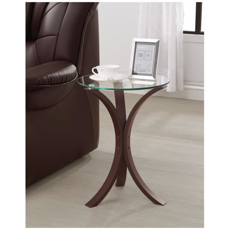 Contemporary Metal Accent Table With Glass Top, Brown And Clear