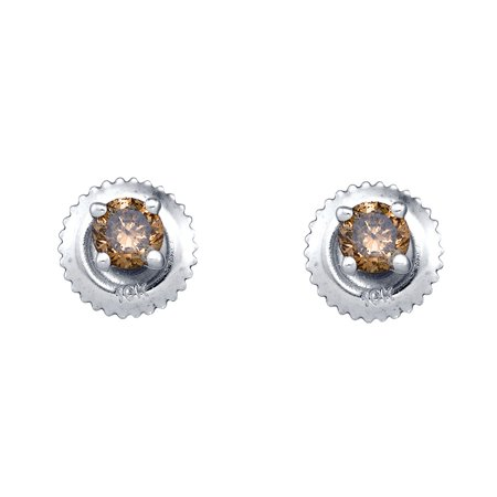 10kt White Gold Womens Round Cognac-brown Colored Diamond Solitaire Screwback Earrings 1/4 Cttw = .25 Cttw (I3 Clarity, round cut)