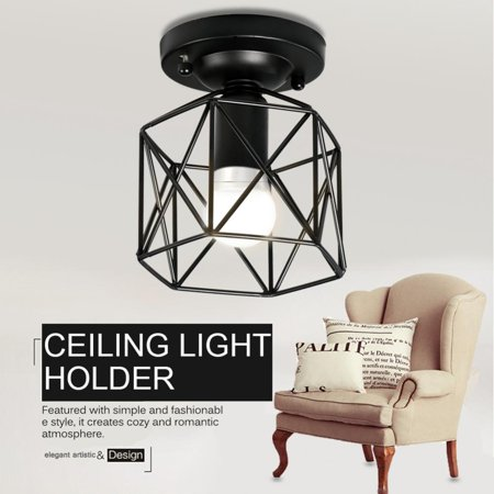 HERCHR E26 Vintage Style Ceiling Light Unique Geometric Shape House Hotel Cafe Decorative Lamp Holder, Wall Light Holder,Ceiling Light