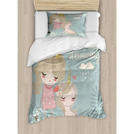 Quote Twin Size Duvet Cover Set, Artistic Composition with Little Princess Girl Unicorn Never Stop Dreaming Quote, Decorative 2 Piece Bedding Set with 1 Pillow Sham, Multicolor, by Ambesonne