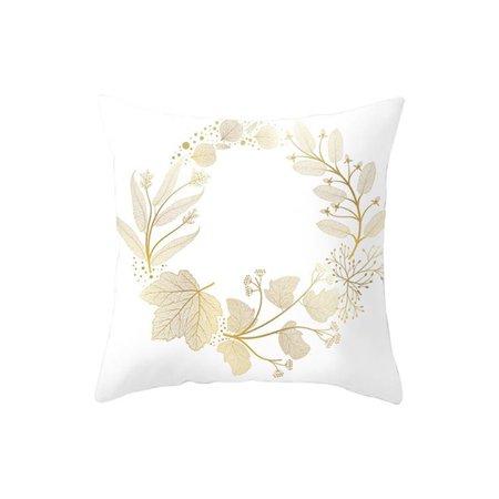 Peach Skin Cushion Cover Pillow Case Home Bed Sofa Waist Decor Gold Leaf Pattern