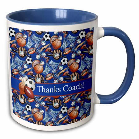 3dRose Thank you Coach, Baseballs, Footballs, Soccer, Gloves, Basketballs - Two Tone Blue Mug, 11-ounce ()
