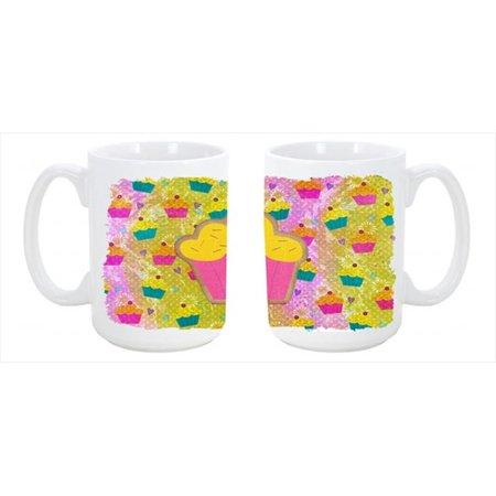 Cupcake Dishwasher Safe Microwavable Ceramic Coffee Mug 15 ounce SB3003CM15