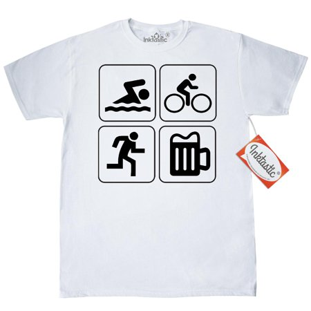 Triathlon Apparel - Inktastic Swim Bike Run Drink T-Shirt Triathlon Mens Adult Clothing Apparel Tees T-shirts