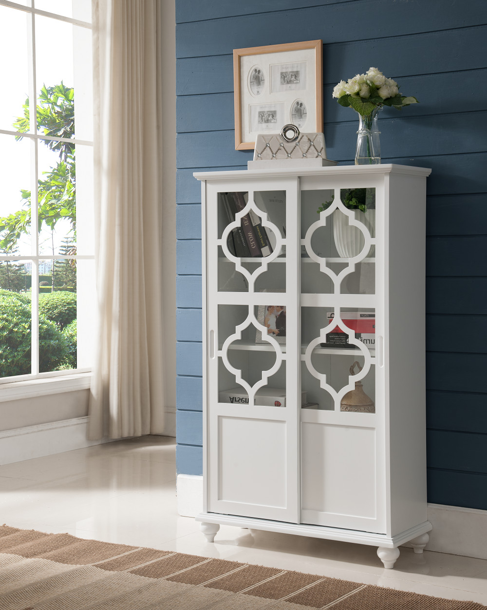 White Wood Contemporary Curio Bookcase Display Storage China Cabinet With Glass Sliding Doors by