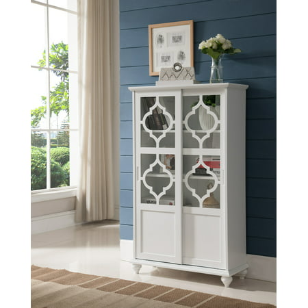 Wood China Cabinet - Chase White Wood Contemporary Curio Bookcase Display Storage China Cabinet With Glass Sliding Doors