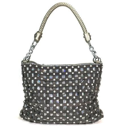 Zzfab Sparkle Rhinestone Suede Hobo Handbag Pewter