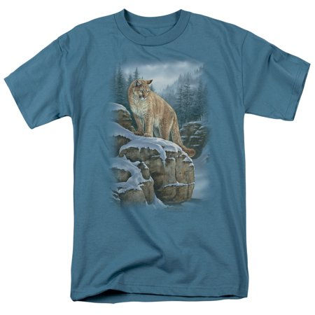 Wildlife Wild Animals Nature A Cougar's Wintery Mountain Canyons Adult T-Shirt (Wild Animal T-shirts)