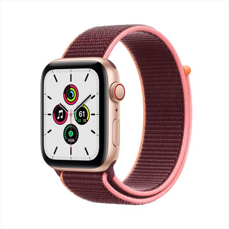Apple Watch SE GPS + Cellular, 44mm Gold Aluminum Case with Plum Sport Loop